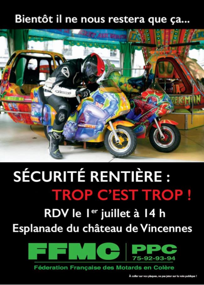 Manif FFMC à Paris samedi 1er juillet contre les nouvelles mesures de sécurité rentière
