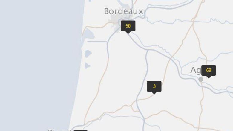 Sur la carte, on peut en compter 50 aux alentours de Bordeaux, 69 vers Agen, 33 près de Biarritz,.. Cela ne concerne pas que les villes, mais aussi les routes nationales, les autoroutes...