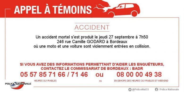 L'appel à témoins diffusé par la police de Bordeaux. / © Police de Bordeaux